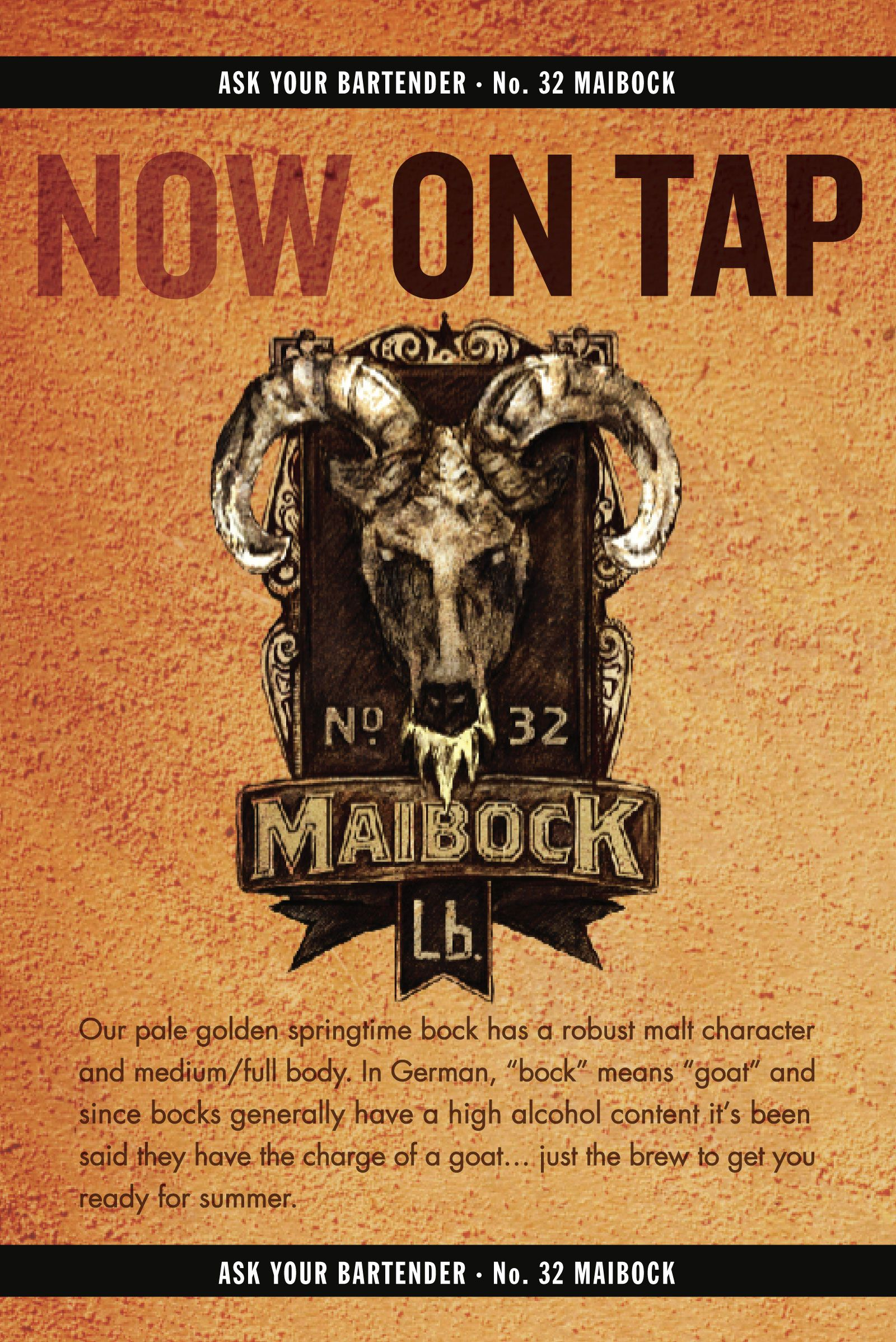 Maibock now on tap at gellas dinner and lb brewing co