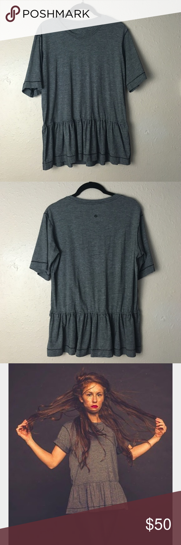 """Lululemon peplum top Lululemon """"flouncy tee"""" Cotton tshirt material. In EUC; worn once, no flaws. No size tag, measures 19"""" Pit to pit with additional stretch. Fits small to medium. Bundle for discounts lululemon athletica Tops Tees - Short Sleeve"""