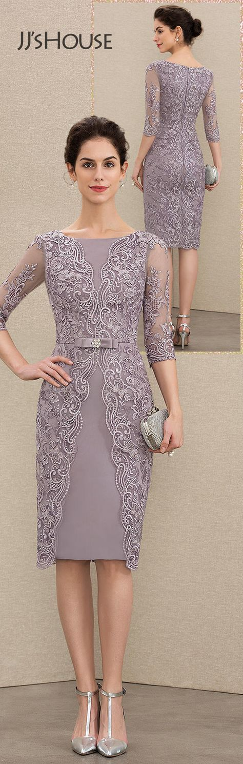 JJsHouse Sheath/Column Scoop Neck Knee-Length Satin Lace Mother of the Bride Dress With Beading Bow(