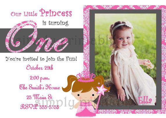Girls First Birthday Invitation for Princess by simplyprintable ...