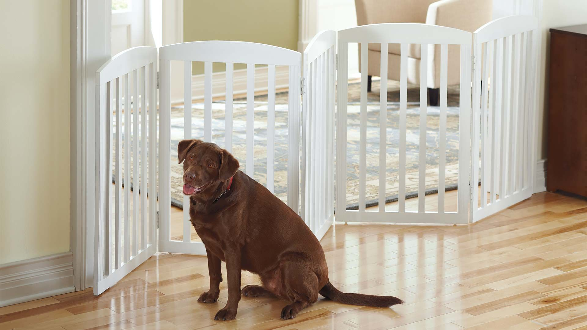 This beautifully crafted Freestanding Wooden Pet Gate is unlike the cumbersome gates of the past. Our solid mahogany gate limits your pet's access to certain areas of your home without creating the distraction of an imposing blockade.