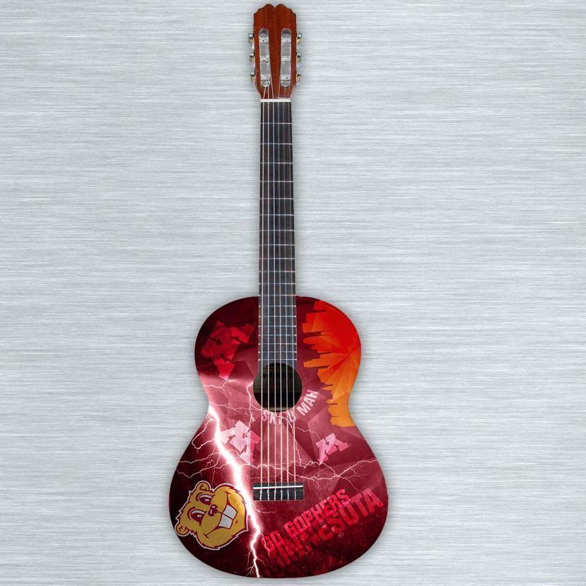 Custom Gopher Themed Concert Body Acoustic Guitar Guitar Vinyl Wrap Acoustic Guitar