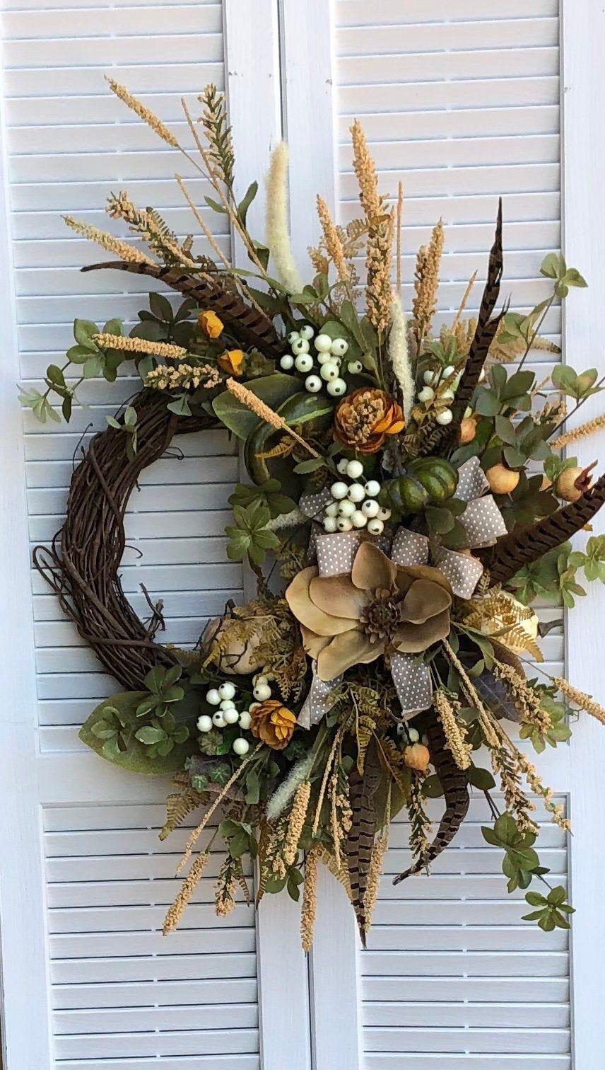 Photo of Autumn magnolia wreath for front door / autumn wheat wreath for autumn / autumn berry wreath with ranunculus / autumn pumpkin wreath