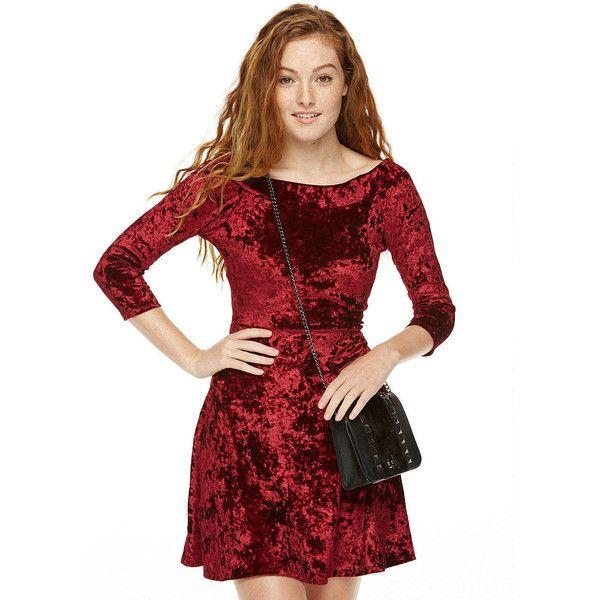 Crushed velvet Harper dress ($20) ❤ liked on Polyvore featuring dresses, burgundy, stretchy dresses, crushed velvet dress, crushed velvet skater dress, burgundy skater dress and half sleeve skater dress