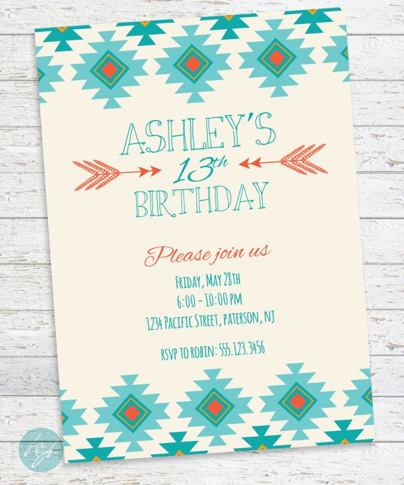 tribal aztec birthday invitation printable tribal by flairandpaper