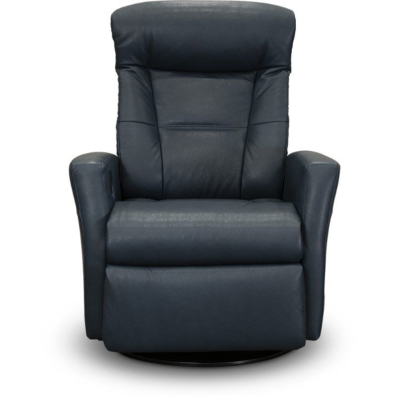 Best Pacific Blue Leather Large Swivel Glider Power Recliner 400 x 300