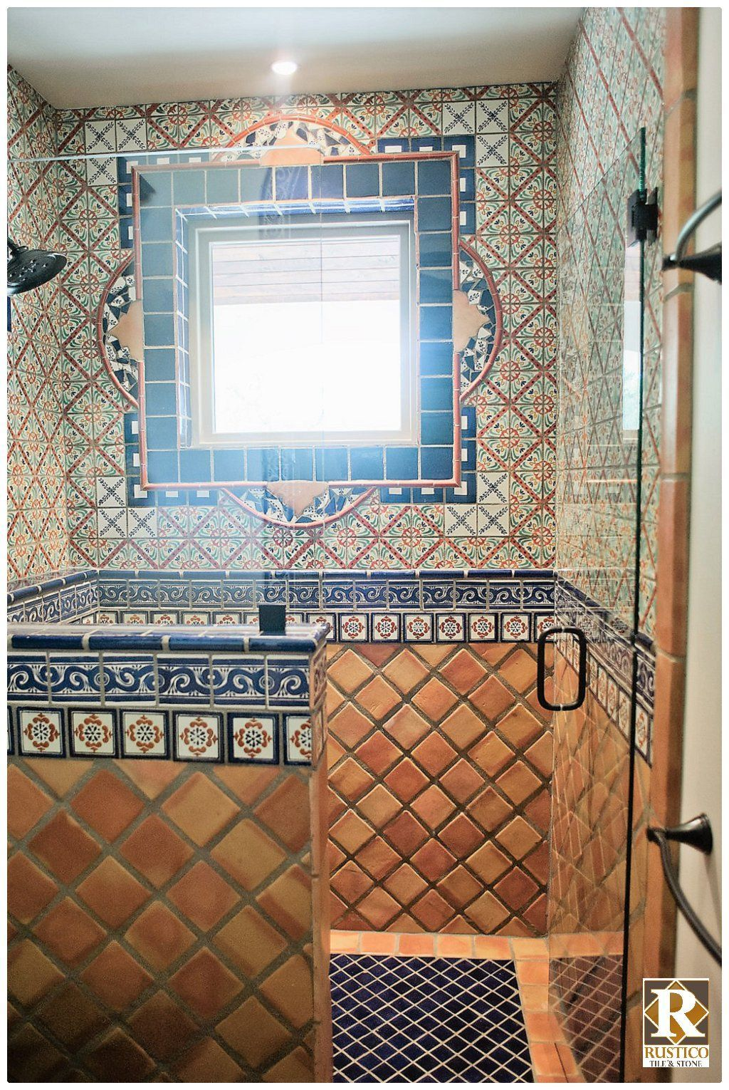 Spanish Tile Shower Floor To Ceiling Yep That S Mexican Talavera Tile Saltillo Tile Cover In 2020 With Images Mexican Tile Bathroom Mexican Style Decor Spanish Style Bathrooms