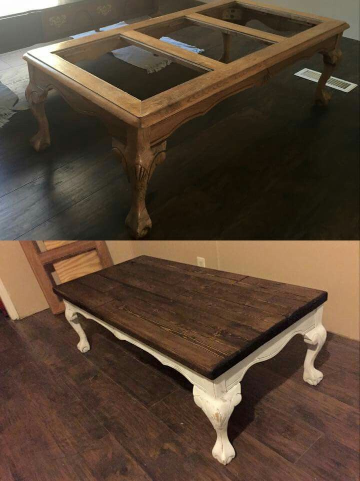 Redo coffee table with wooden top instead of glass home How to renovate old furniture