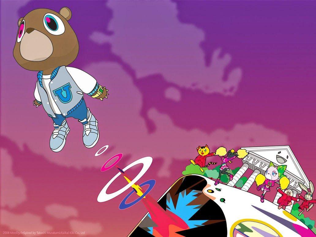 Takashi Murukami Album Cover For Kanye West S 2007 Graduation Album Kanye West Bear Graduation Album Kanye West Album Cover