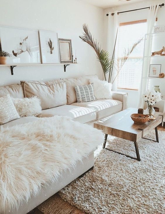 we love this bright  airy monochrome living room  with nods to farmhouse  scandinavian and boho