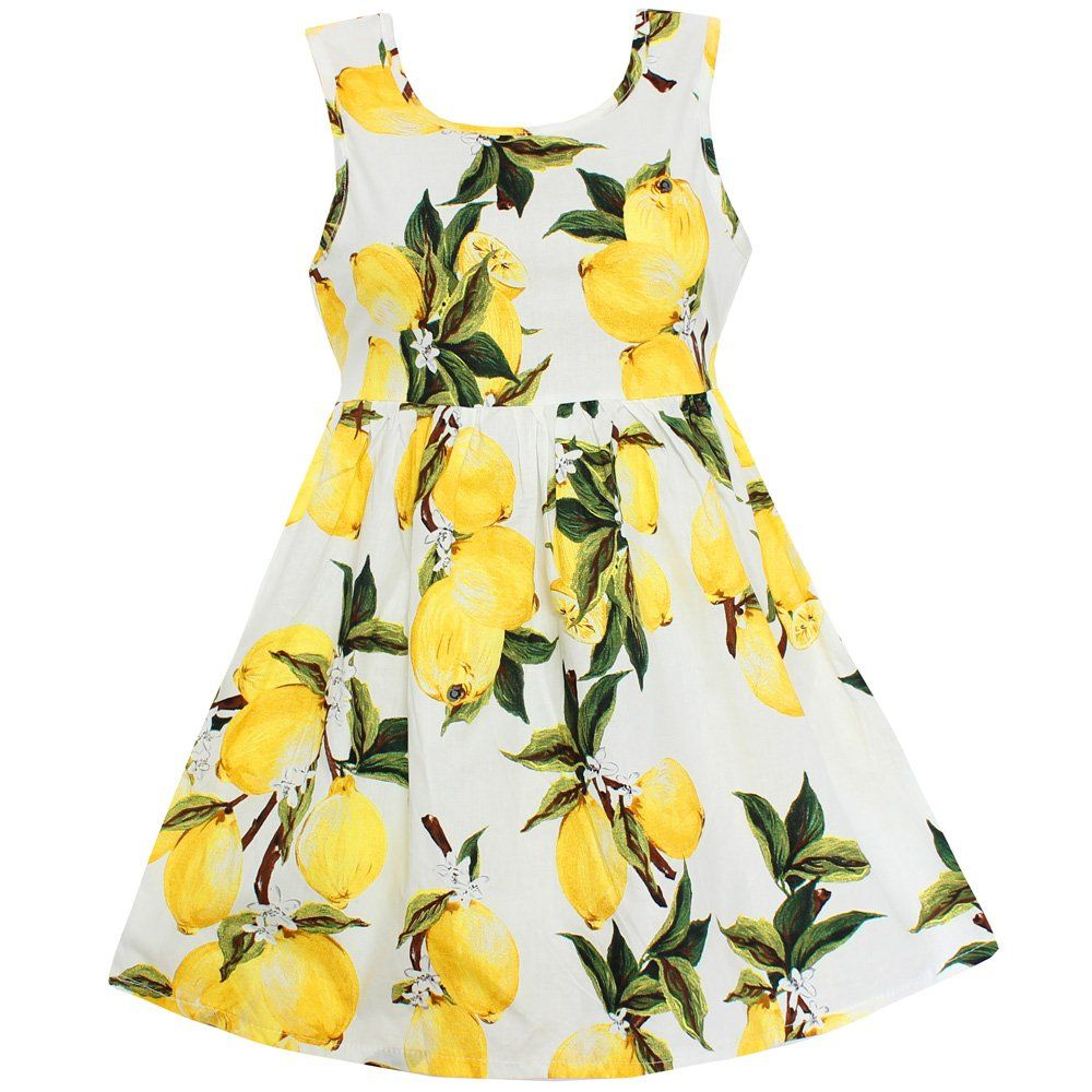 Shybobbi girls dress hot lemon print cotton belt party pageant