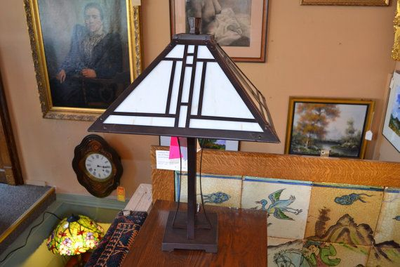 Tiffany style Mission stained glass table lamp by OakParkAntiques