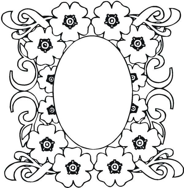 mosaic mosaic of flower frame coloring page