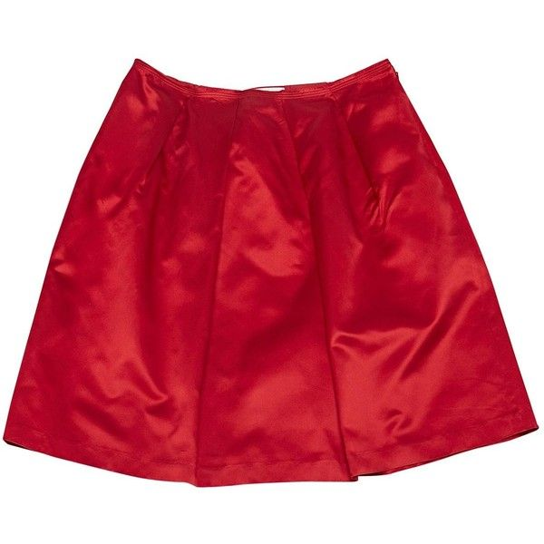 Pre-owned Prada Silk Skirt ($211) ❤ liked on Polyvore featuring skirts, red, women clothing skirts, silk skirt, red silk skirt, red knee length skirt, prada and prada skirt