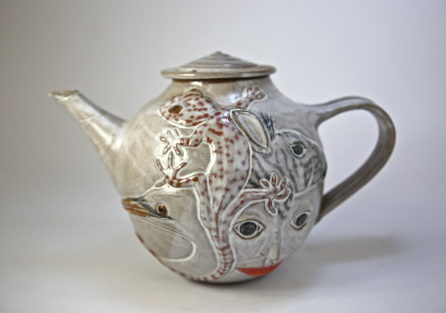 Animal Dream Teapot Gecko Zebra Bird Heron Face Art Piece Functional Hand Crafted Stoneware Teapot 8 1 8 Quot Tea Pots Stoneware Teapot Pottery Teapots