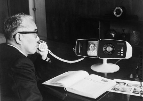 wholesalemoney:  Toshiba company's new videophone, the Model 500 View Phone, being tested at the company's Tokyo headquarters, May 6 1968