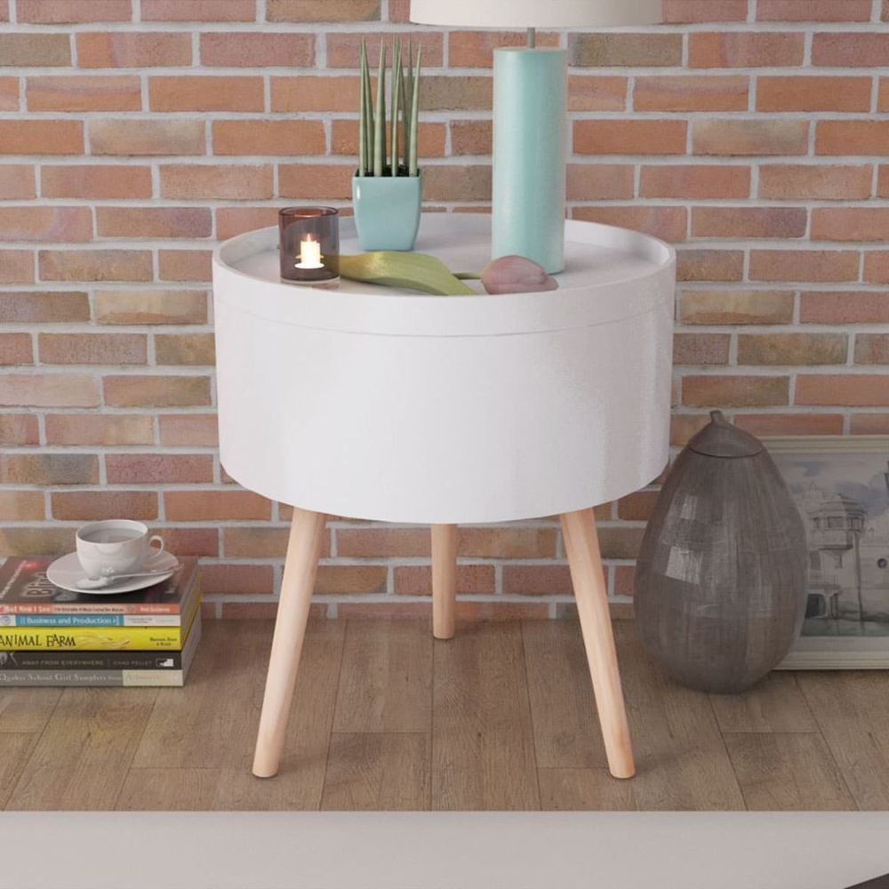 Side table with serving tray round storage organizer living room