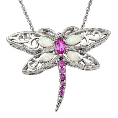 6f9783363 Marquise Lab-Created Pink Sapphire and Opal Dragonfly Pendant in Sterling  Silver $84.15