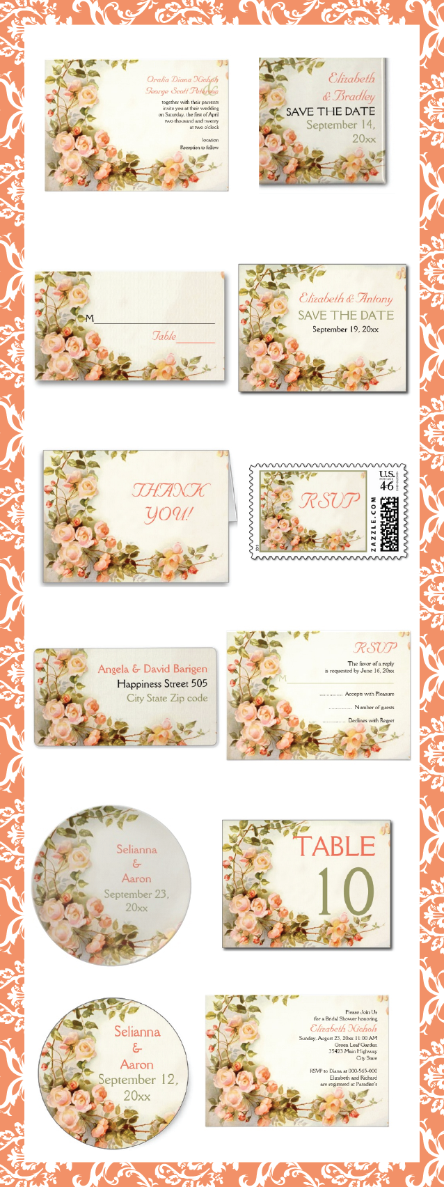 Vintage romantic painting of roses wedding invitations and matching stationery. #roses, #weddinginvitations, #romantic, #vintage, #floral  See more designs http://www.zazzle.com/weddings_?rf=238228936251904937=zBookmarklet