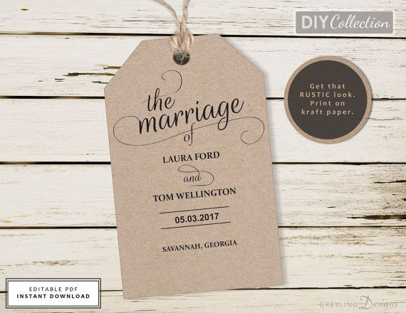 Printable Wedding Tag Rustic Wedding Tag Template Welcome Bag Tag