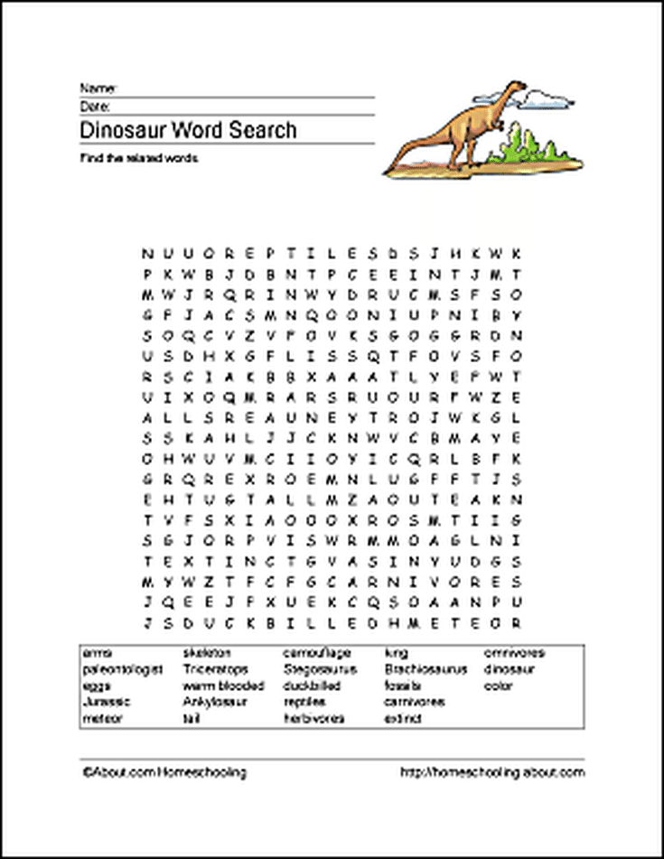 Dinosaur Word Search, Vocabulary, Crossword and More   Word search ...