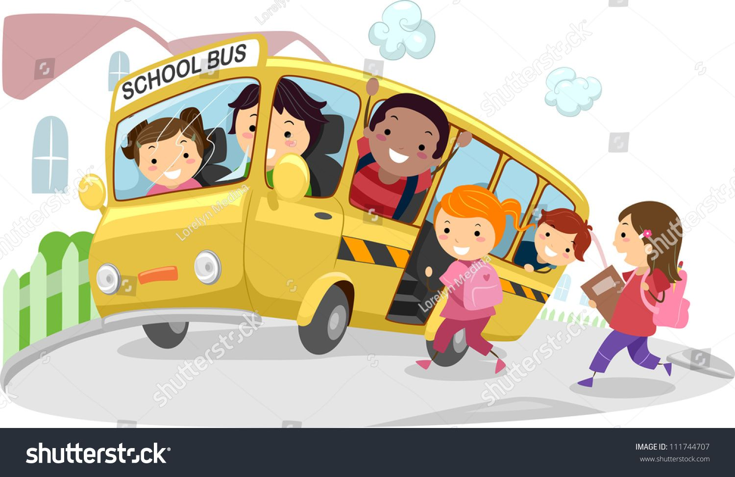 Illustration Of Kids Riding A School Bus On Its Way To School Ad Sponsored Kids Illustration Riding Riding School Bus Children Illustration Kids Ride On