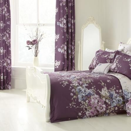 Dorma Purple Florence Lined Pencil Pleat Curtains | Dunelm