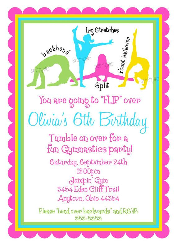Gymnastics Invitations Birthday PartyGirls BIrthday Children On Etsy 159