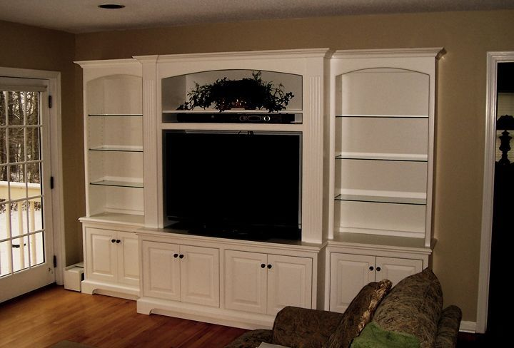 Built In Wall Unit For Widescreen Tv In Tradiitonal Style Built