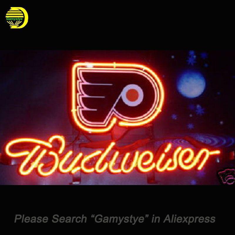 Neon Sign For Nhl Philadelphia Flyers Hockey Beer Glass Tube Budweiser Handcraft Advertise Display Night Light Signs 13x8 Inch Hockeyg Neon Signs Flyers Hockey Night Light