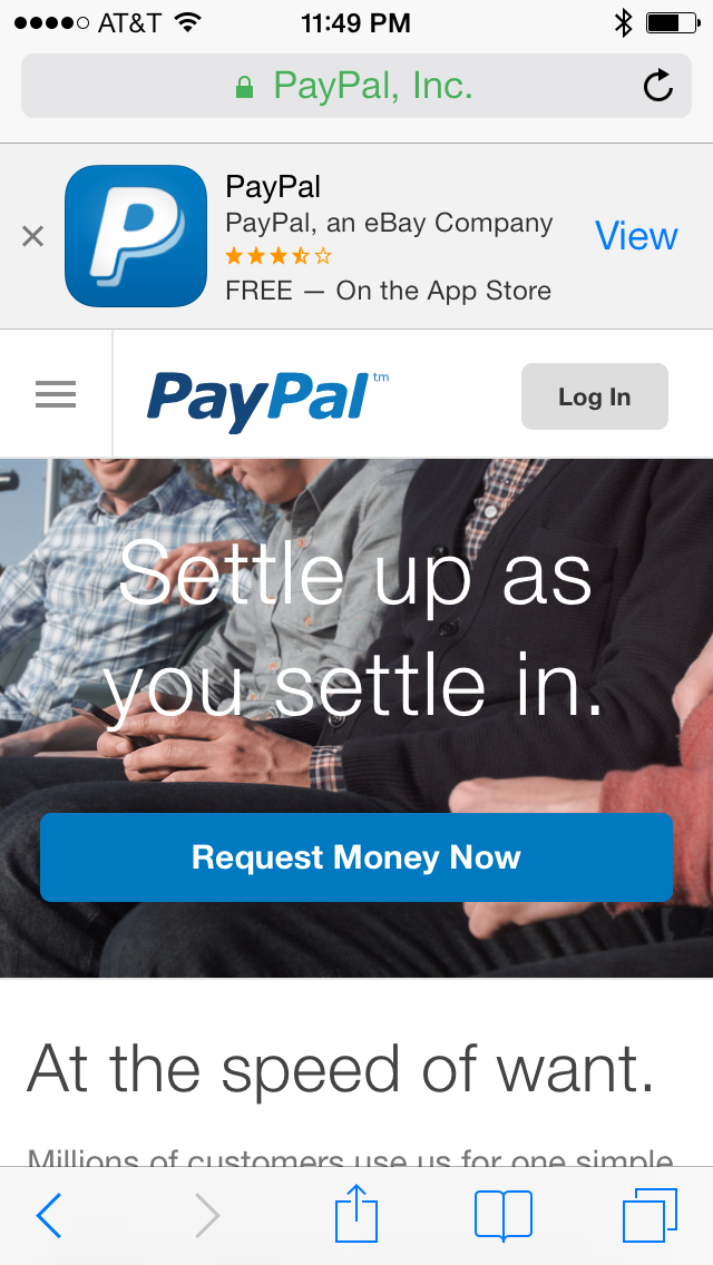 Apple App Store banner, as seen on the PayPal mobile site