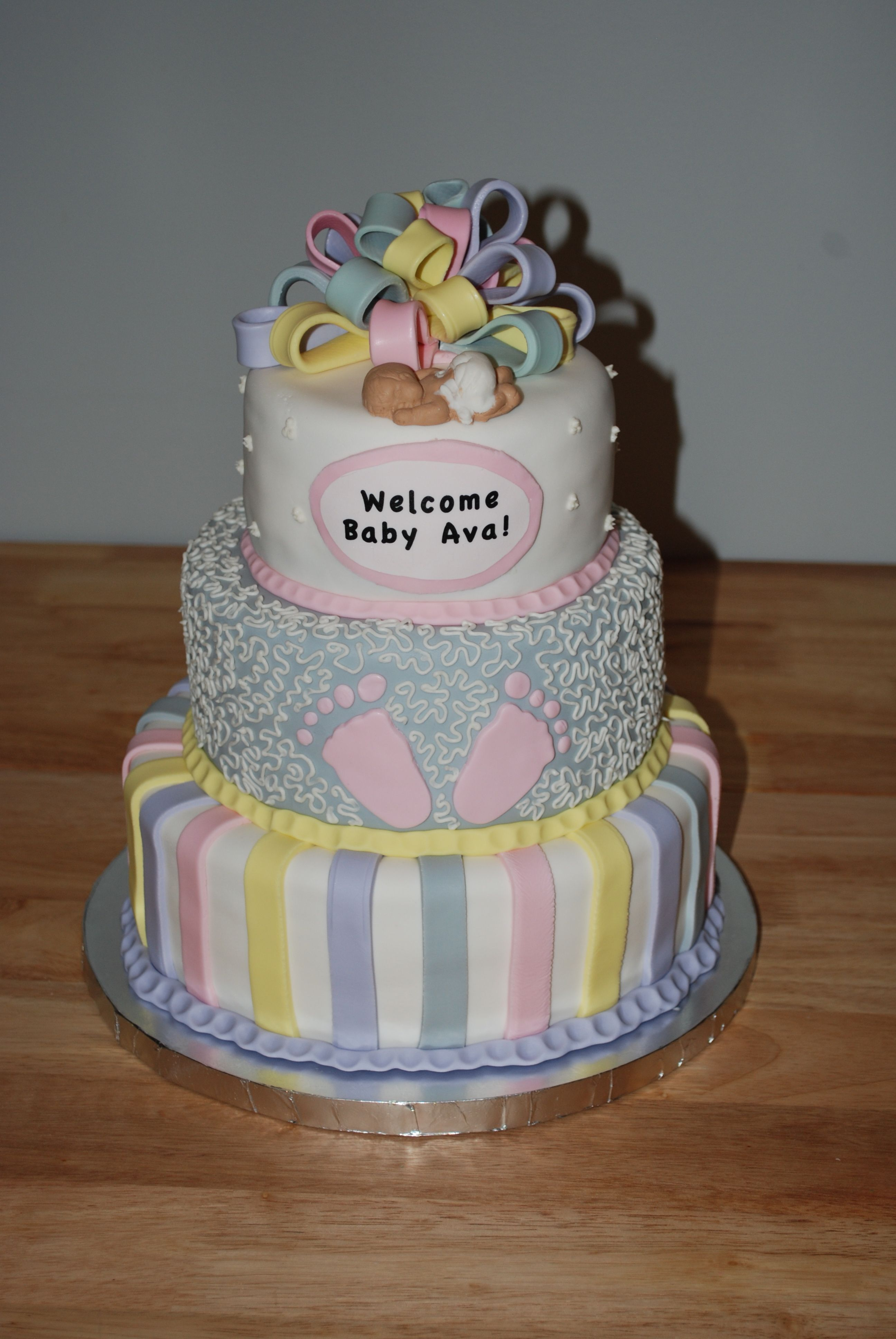 Pastel colored three tiered baby shower cake Pink gray yellow