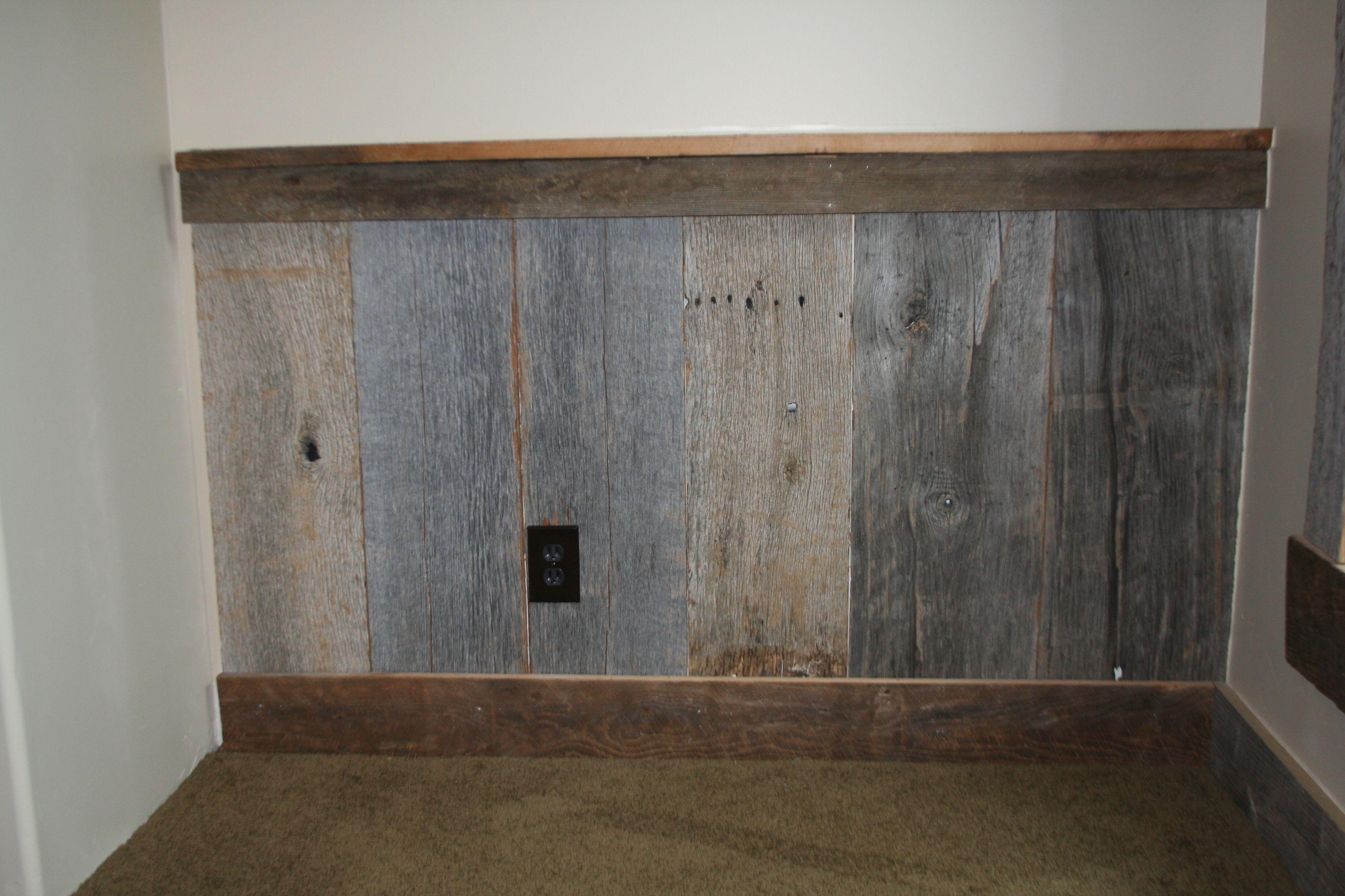 superb barn wood chair rail bed