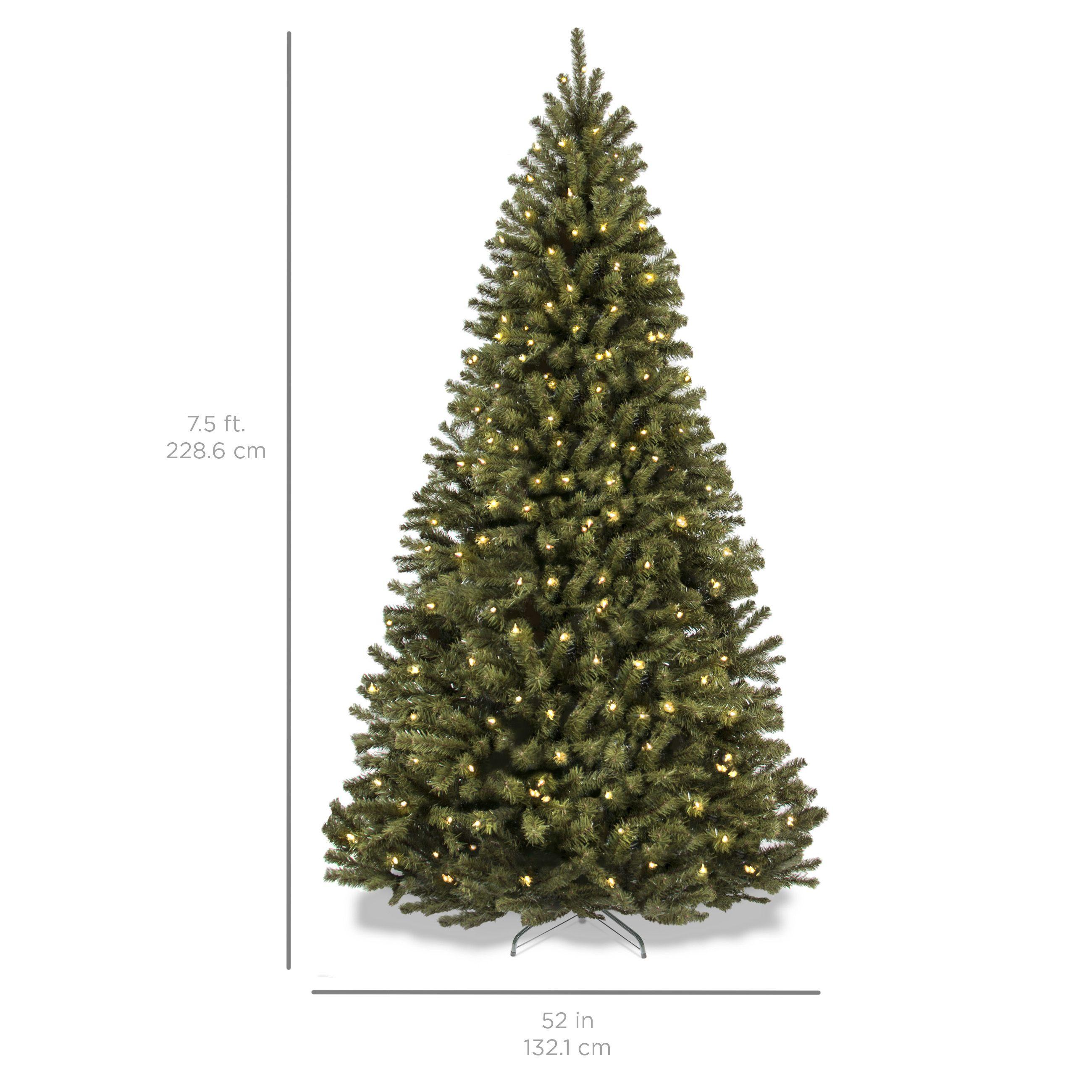Best Choice Products 7 5ft Pre Lit Spruce Hinged Artificial Christmas Tree W 550 Ul Certified Led Artificial Christmas Tree Christmas Tree Incandescent Lights