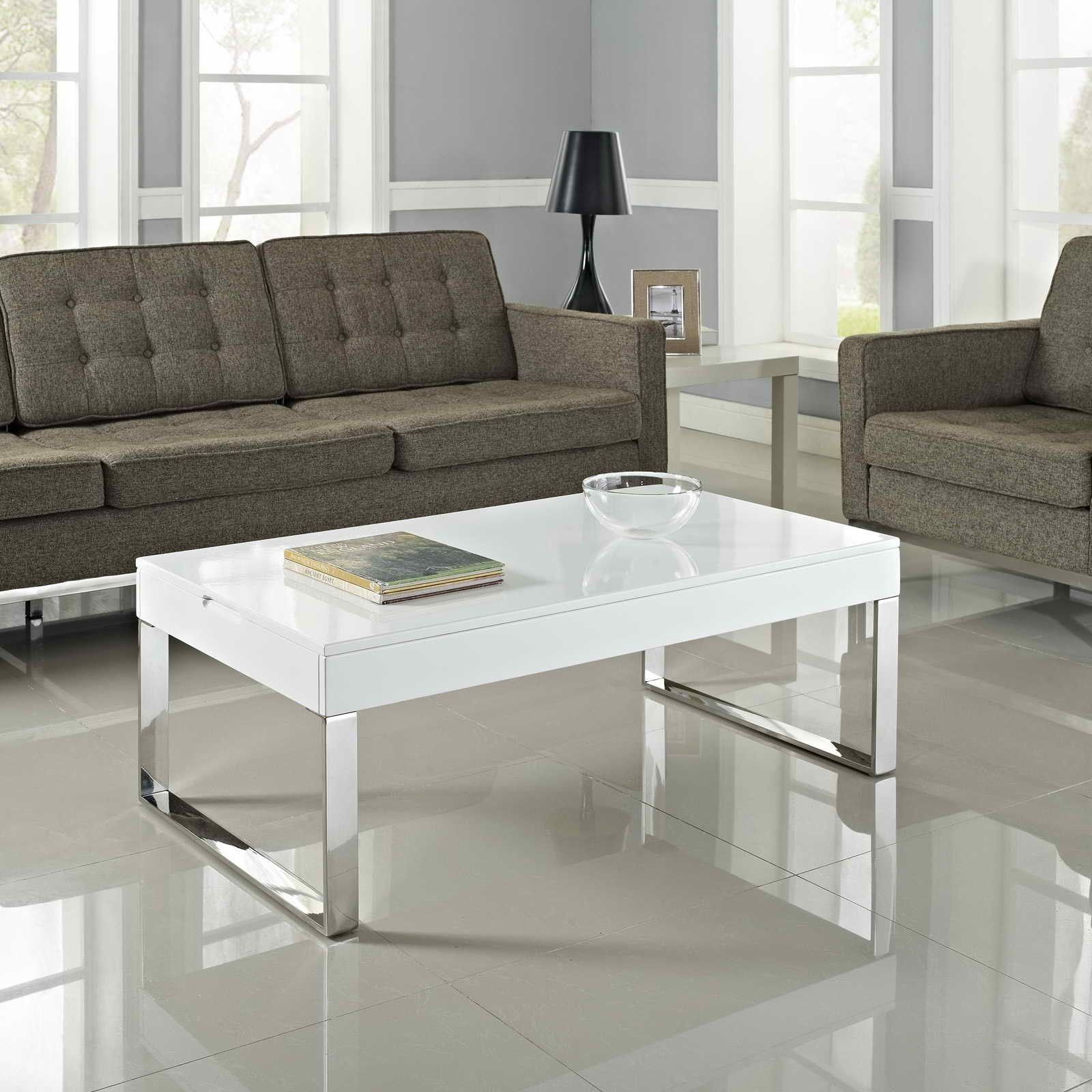 Image result for white gloss and silver leg coffee table
