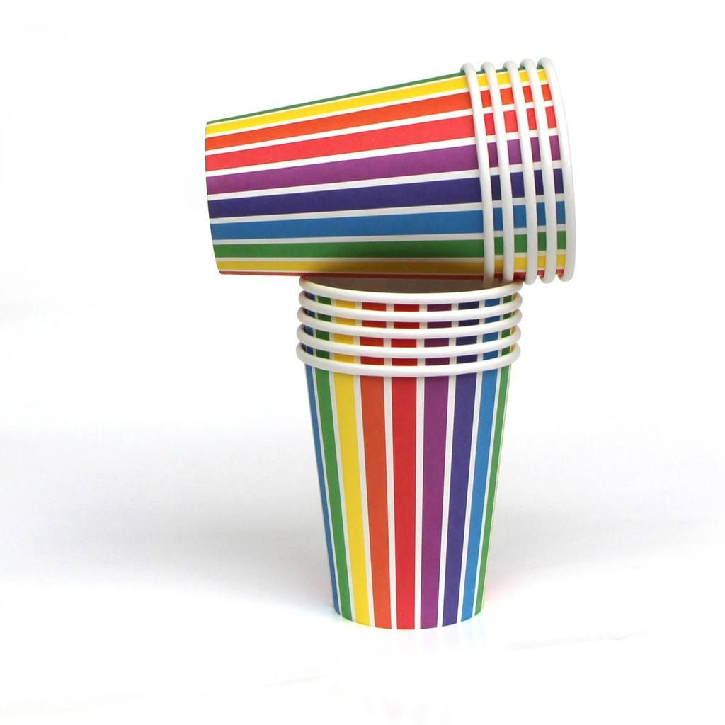 Party Supplies The Party Darling Quality Paper Cups Rainbow Party Rainbow Striped Paper Cups Cups Art Party Rainbow Cups