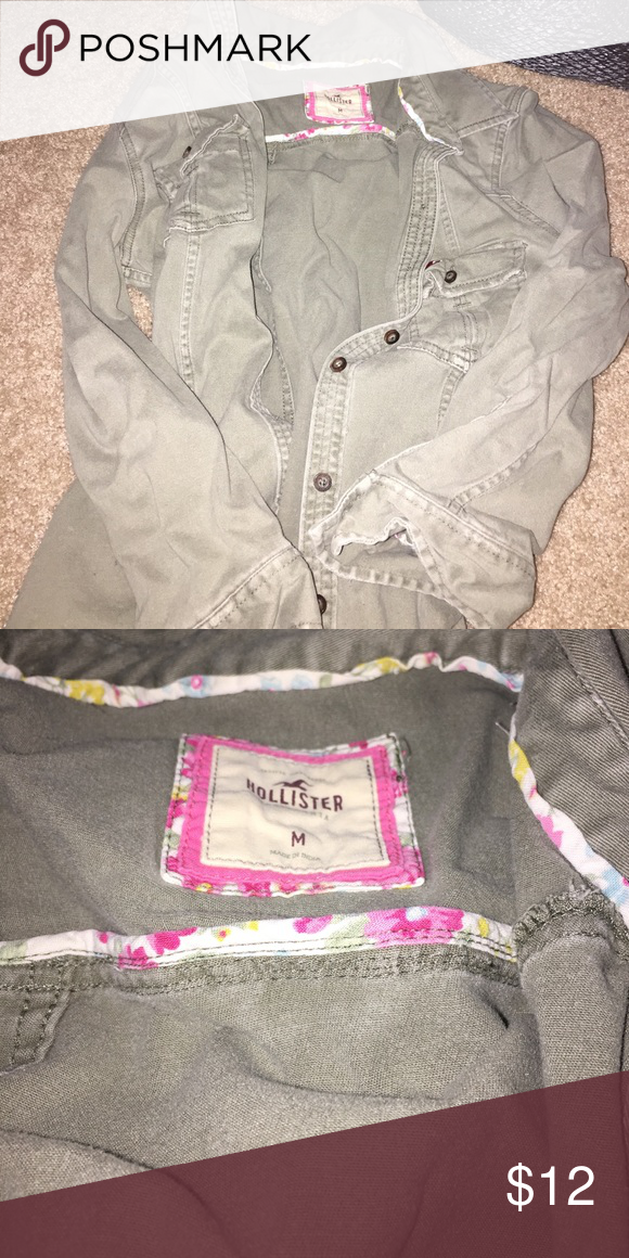 green Hollister jacket New, two pockets on top Hollister Jackets & Coats