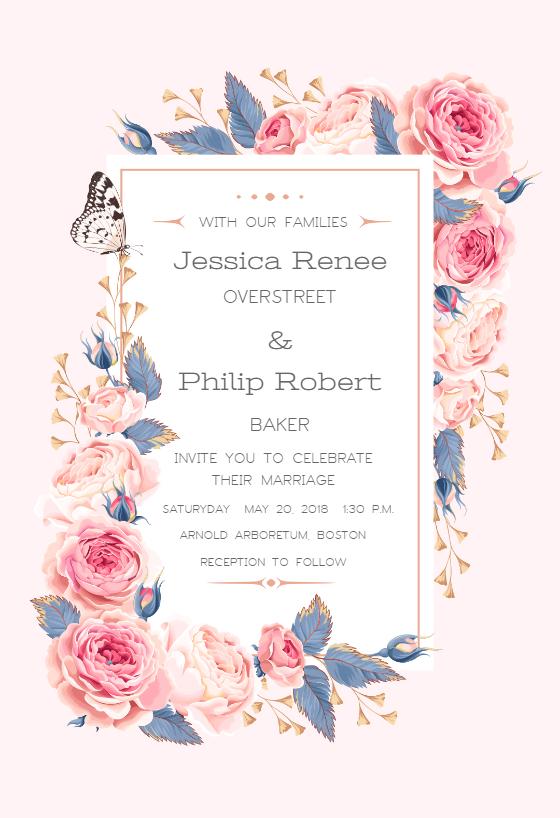 Climbing Roses Wedding Invitation Template Free Greetings Island Rose Wedding Invitations Wedding Invitations Online Popular Wedding Invitations