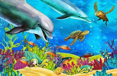 Fondo Del Oceano Con Peces De Colores Corales Y Arrecifes Fondo Marino Dibujo Peces De Colores Cuadros De Animales