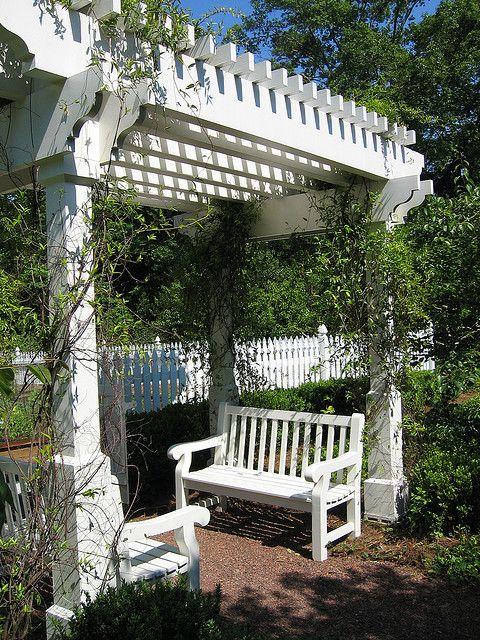 Garden entry arbor with bench | Gardening | White pergola ...