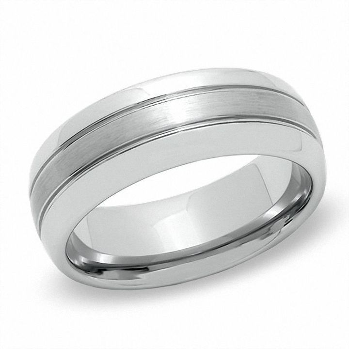 Zales Previously Owned - Mens 6.0mm Comfort-Fit Brushed center Wedding Band in Tungsten