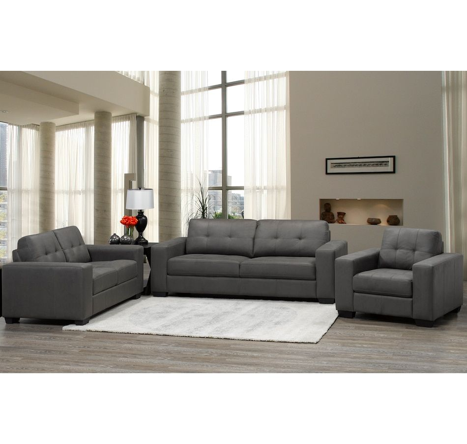 Brassex Skylar Tufted Love Seat 3 Piece Living Room Set Sofa Set Living Room Sets