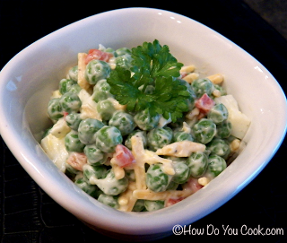 Old Fashioned Pea Salad. This is just an excellent and easy side dish or if you're like me, just eat it with Ritz crackers!