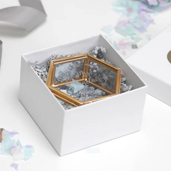 Personalised Mini Hexagon Glass Jewellery Box Hexagon box and