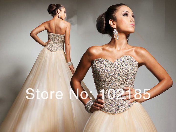 High quality strapless sweetheart beaded tulle floor length summer evening dress gown JED006