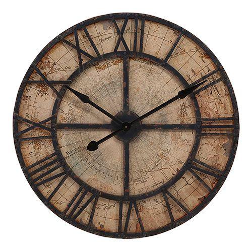 Imax Brown Bryan Map Wall Clock 18308 Oversized Wall Clock Distressed Wall Clock