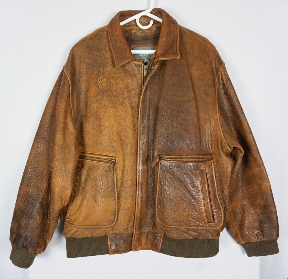 Wilsons Leather Mens Distressed Leather Bomber Brown Jacket W Zip Liner Sz Xl Wilsonsleather Leather Bomber Jacket Brown Leather Bomber Jacket Leather Bomber [ 970 x 1000 Pixel ]
