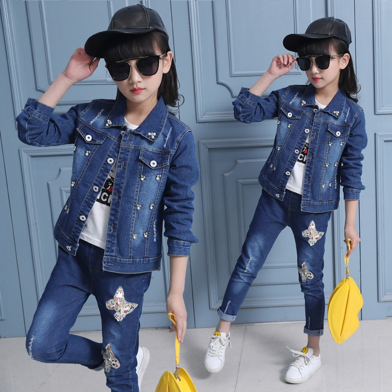 27.54$  Watch here - 2017 New High quality 2pcs/set Butterfly Coat And Jeans Spring Autumn fashion classic children's cowboy suit girl Jeans Set  #SHOPPING