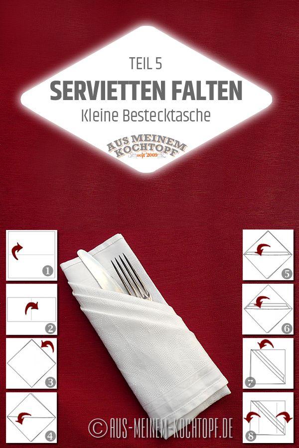Servietten falten: Bestecktasche