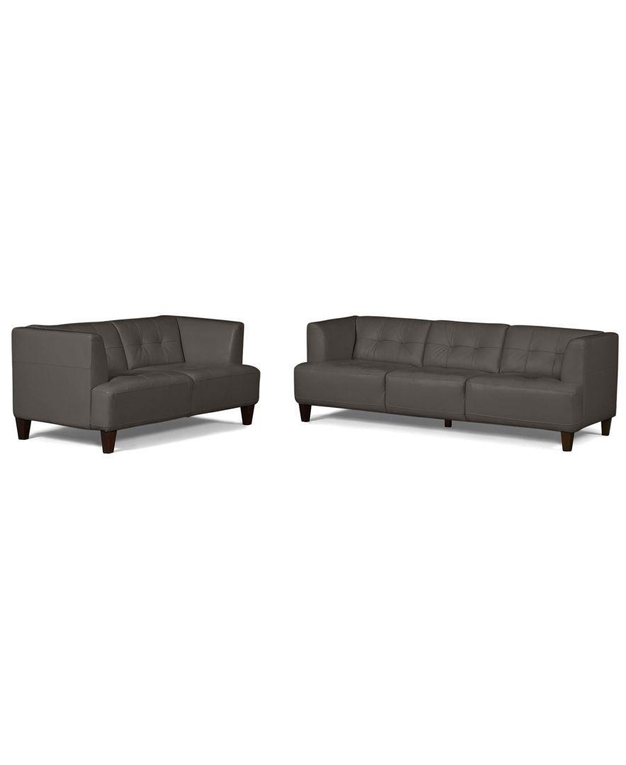 Alessia Leather Sofas 2 Piece Set